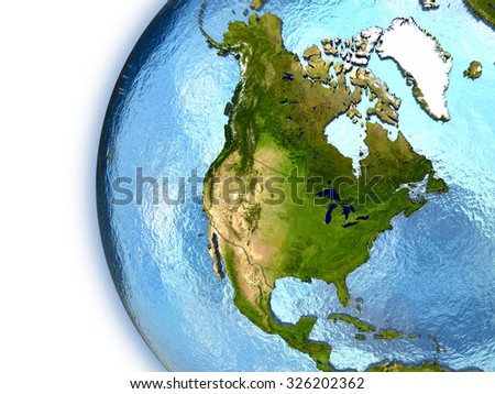 Planet Earth with embossed continents and country borders. North America. Elements of this image furnished by NASA.