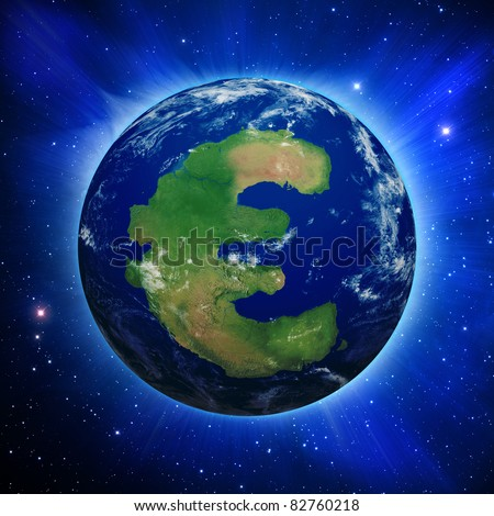 Planet Earth with Euro symbol shaped continent and clouds over a starry sky.