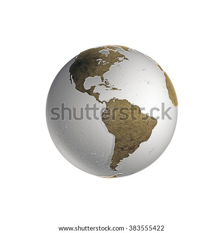 planet earth with extruded continents isolated on white background
