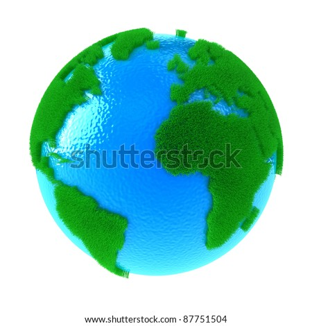Planet Earth with green continents from a grass