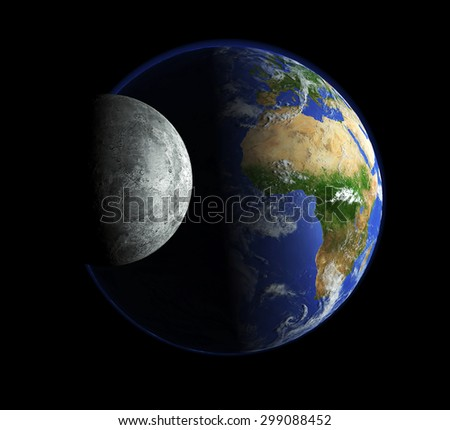 planet earth with moon - stock photo