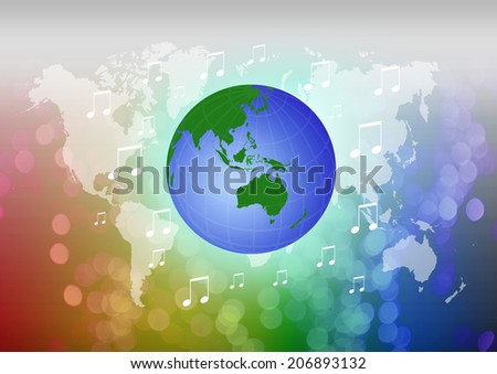Planet Earth with music note over attractive background. - stock photo