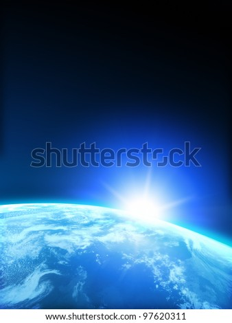 Planet Earth with Rising sun with room for text or copy space.