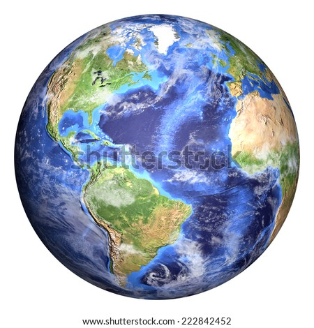 Planet earth with some clouds. Americas view. Elements of image (like cloud map, world map, etc) are furnished by NASA and the sphere with added bump is created in Photoshop CS6 Extended. - stock photo