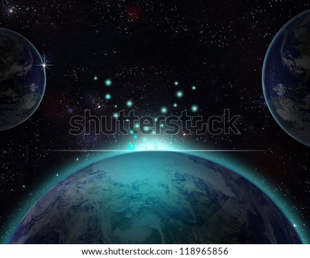 Planet earth with sun rising over European countries (Elements of this image furnished by NASA - stock photo