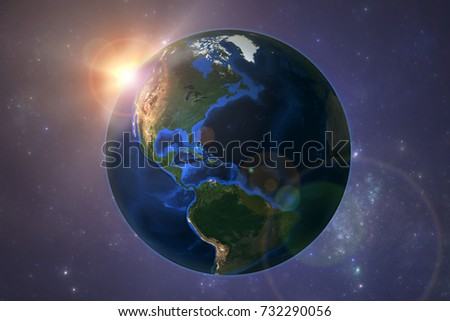 Planet Earth with Sun set. Elements of this image furnished by NASA