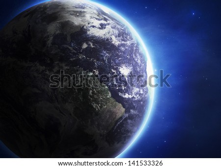Planet earth with sunrise. Elements of this image furnished by NASA - stock photo