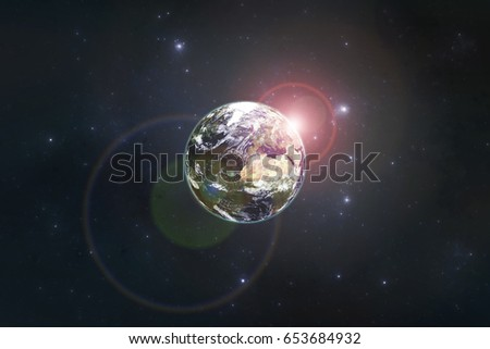 Planet Earth with the rising sun. Elements of this image furnished by NASA