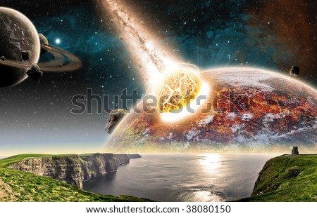 Planet explosion - End of the world - stock photo