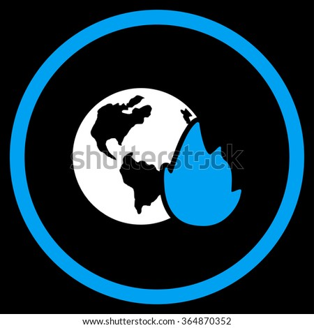 Planet Flame glyph icon. Style is bicolor flat circled symbol, blue and white colors, rounded angles, black background.
