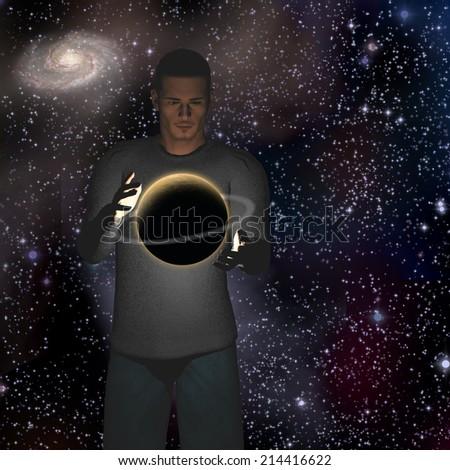 Planet hovers between hands - stock photo