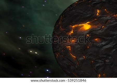 Planet in Outer Space Galaxy 3D Illustration