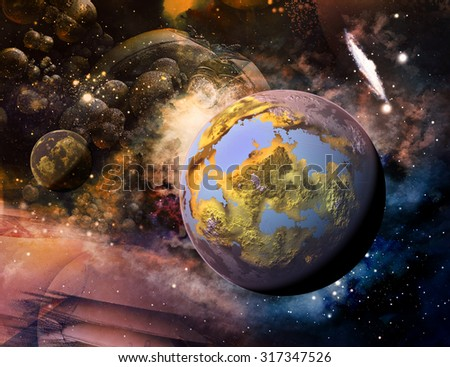Planet in space - stock photo