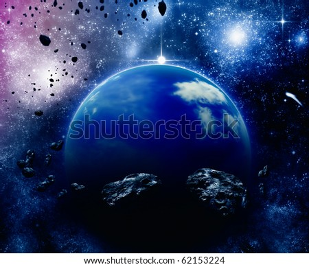 Planet in space, asteroid field - stock photo