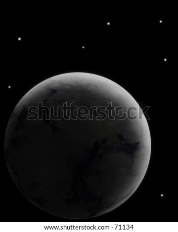 Planet in space - separating from darkness in majority of image. Good way to separate text. computer generated - stock photo