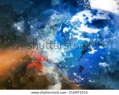 Planet in space - universe background - stock photo