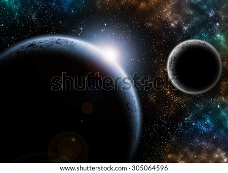 Planet in Space with light