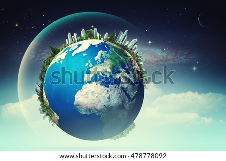 Planet in the skies, eco backgrounds with funny Earth against starry skies. NASA imagery used