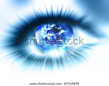 planet is in the abstract blurred eye - stock photo