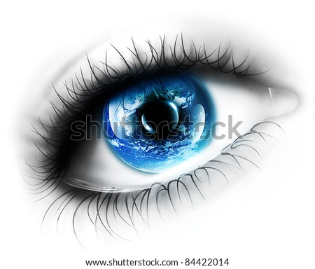 planet is in the eye isolated on a white background - stock photo