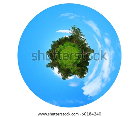planet is in the form of a sphere on a white background. panoramic image looks like green planet. Ecology and space concept