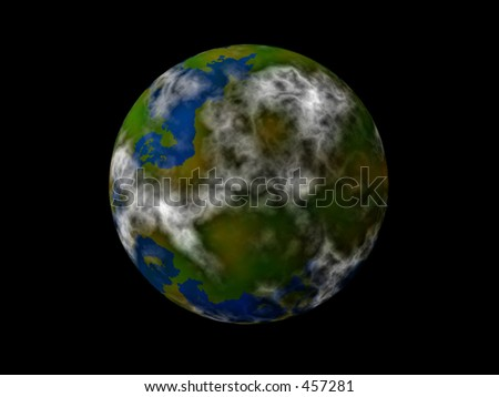 planet isolated on black (artwork)
