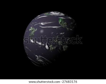 Planet isolated over black background - stock photo