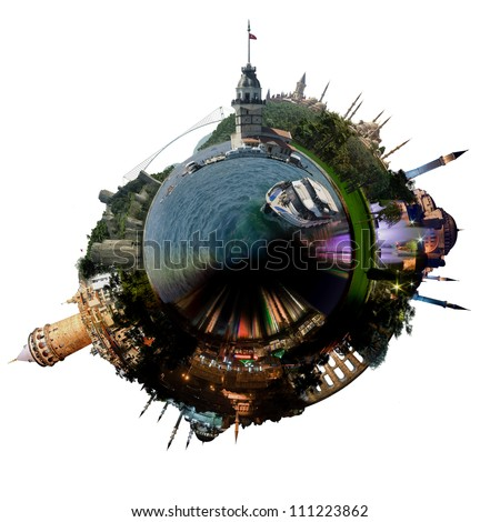 Planet Istanbul - Miniature planet of Istanbul, with all important buildings and attractions of the city, isolated on white - stock photo