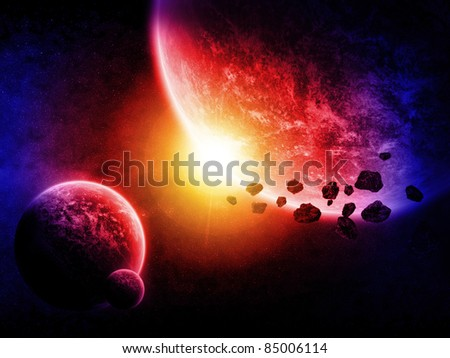 Planet lanscape and asteroids - stock photo