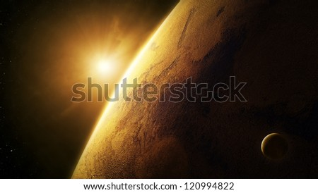 Planet Mars close-up with sunrise in space   (Elements of this image furnished by NASA- texture map  http://visibleearth.nasa.gov) - stock photo