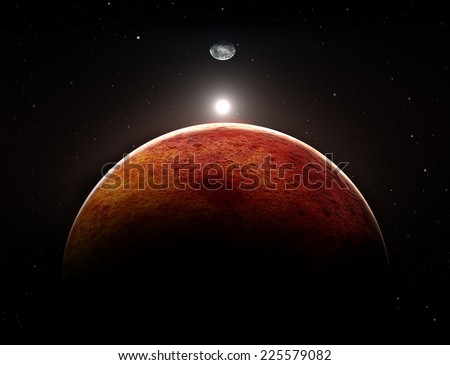 Planet Mars with moon, illustration - stock photo