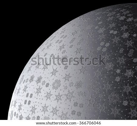 Planet of snowflakes - stock photo