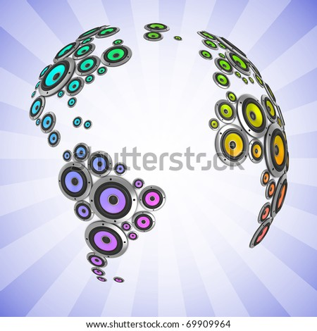 planet of sound 3d illustration - many loudspeakers forming the continents - stock photo