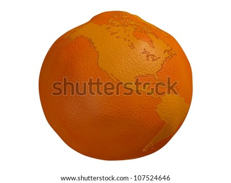 Planet Orange - a 3d render of a globe in the form of an orange isolated on a white background - stock photo