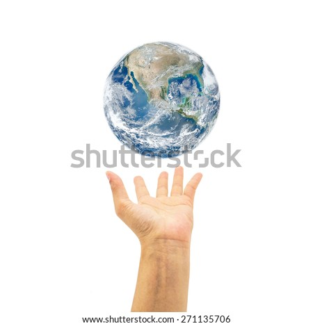 Planet over human hand on white background : Saving environment concept : : Save the earth campaign : Pray for help and support : Elements of this image furnished by NASA  - stock photo