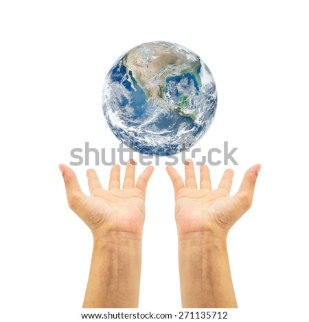 Planet over human hands on white background : Saving environment concept :  Save the earth campaign : Pray for help and support : Elements of this image furnished by NASA  - stock photo