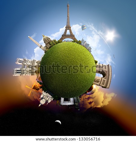 Planet Paris - Miniature planet of Paris, France, with all important buildings and attractions of the city - grassy park globe - stock photo