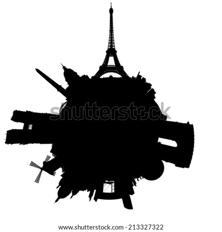 Planet Paris silhouette - outline of a miniature planet of Paris, France, with all important buildings and attractions of the city, isolated on white - stock photo