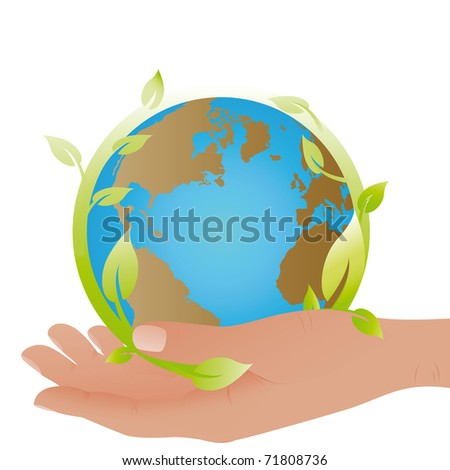Planet symbol in my hand - stock photo