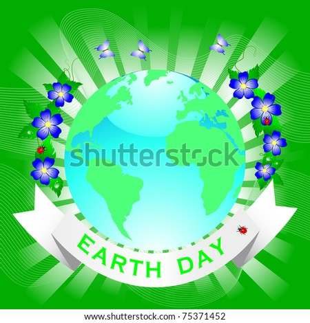 Planet symbol on Earth Day.  Similar image in vector format  in my portfolio.