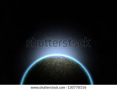 Planet with galaxy and light effect