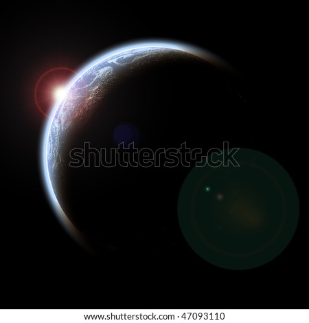 Planet with Rising Sun and lights city on black background