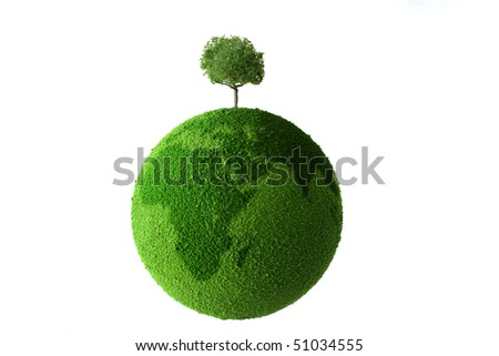 Planet with tree and grass - stock photo