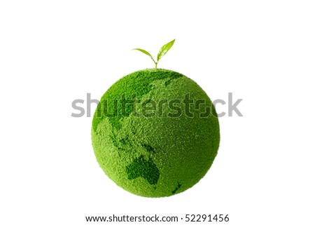 Planet with tree and Sprout - stock photo