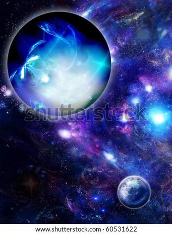 Planets and mystic luminous nebula - stock photo
