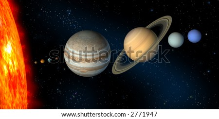 Planets and sun from our solar system. Digital illustration.