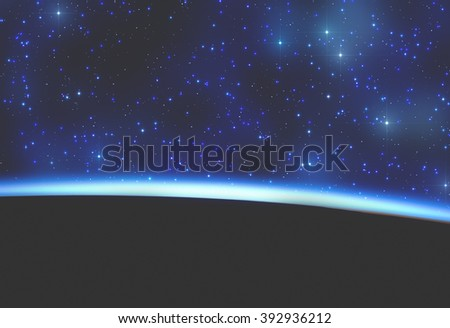 Planets and sunrise on a starry background. No elements of NASA or other third party. - stock photo