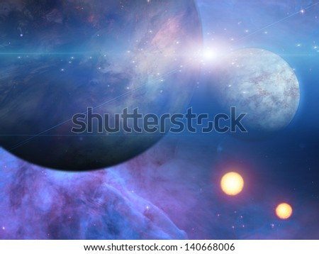 Planets and suns - stock photo