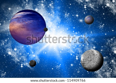 Planets and the universe. - stock photo