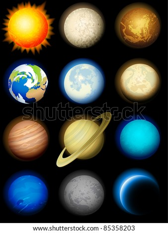 Planets icon - raster version - stock photo